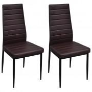 2 pcs Brown Slim Line Dining Chair