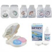 Optify Combo Pack Monthly Color Contact Lens With Travel Kit (Zero Power Tarquise-Hazel-voilet Pack of 3)