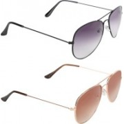 Aligatorr Aviator Sunglasses(Grey, Golden)