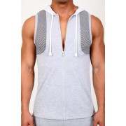 Pistol Pete Traction Sleeveless Hoody Muscle Top T Shirt Grey MT195-837