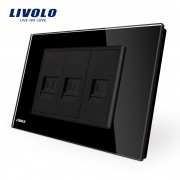 Priza telefon+dubla internet Livolo cu rama din sticla - standard italian, negru