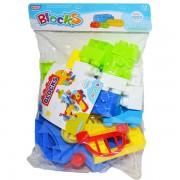 Cuburi de construit din plastic pentru copii, 42 piese
