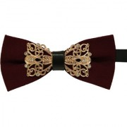 Leonardi Solid Wine Polyester Free Size Adjustable Bow Tie for Men