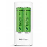 Caricabatterie 2 AA/AAA con 4 batterie AA 1300mAh USB bianco