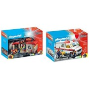 Playmobil City Action Playset Bundle with Take Along Fire Station Playset and Rescue Ambulance Playset