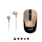 Genius Mobile Package MH-8015 [Business] - Wireless Smart Mouse & in-Ear Headset Combo for Mobility Users, Stylish Brushed Metal Look, ECO-Friendly Re