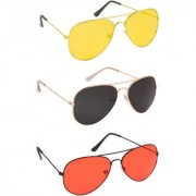 TheWhoop Combo Black Red And Yellow Day And Night Vision Colorful Aviator Sunglasses For Men Women Boys Girls (Pack