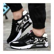 Zapatos Hombres Casuales Calzado Deportivo Respirable Corrientes De Aire Camuflaje - Negro Y Blanco