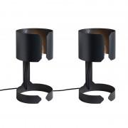 QAZQA Set de 2 lampes de table Waltz noir