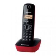 Безжичен телефон Panasonic KX-TG1611, чернобял двуредов LCD дисплей, вътрешен/външен обхват 300/50м, до 6 слушалки към базата, черен-червен