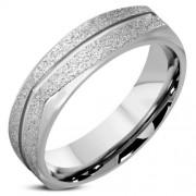 Ezüst színű, homokfújt, hornyos nemesacél gyűrű