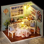 DIY Wooden Dolls House Handcraft Miniature Kit-Happy Kitchen Model with Furniture