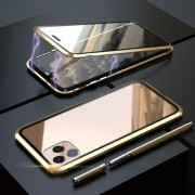 LUPHIE Two-sided Magnetic Adsorption Metal Frame Phone Case for iPhone 11 Pro 5.8 inch - Gold