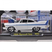 Plymouth Fury Tuning met.-white/blue 75 years MOPAR 1958 Model Car Ready-made M2 Machines 1:64