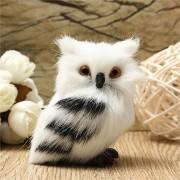 Owl White Black Furry Christmas Ornament Decoration Adornment Simulation H2.75'