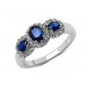 Inel argint cu safir albastru si topaz alb