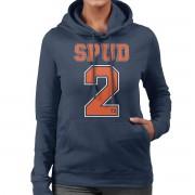 Cloud City 7 Trainspotting T2 Spud nummer 2 Women's Hooded Sweatshirt Marinblå Medium