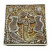 Brown Wooden Textile Stamps Wood Block Art Lord Ganesha Stamp Decorative Block