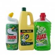 Set produse curatenie Solutie WC Duck lichid 750ML Pin+Solutie pardoseli Ajax spring flowers 1L+Crema curatat Cif lemon 2L