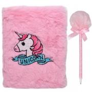 Jurnal secret pentru copii plusat cu pix, Unicorn Roz