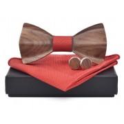 Dřevěný motýlek s kapesníčkem a manžetovými knoflíčky Gaira 709098