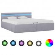 vidaXL Легло с повдигащ механизъм с LED светлосиво текстил 180x200 см
