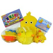 Baby Bath Time Toys Bundle - 4 pc Plastic Boats. Rubber Duckies, Duckie Cloth Puppet, Duckie Spongey by Combined Brands