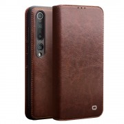 QIALINO Luxury Genuine Leather Wallet Phone Case for Xiaomi Mi 10 Pro - Brown