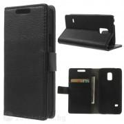 Кожен калъф тип портмоне за Samsung Galaxy S5 mini - черен
