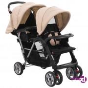 vidaXL Kolica za dvoje djece bež i crna čelična