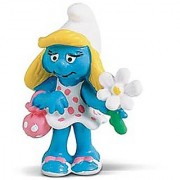 Smurfette with Flower ~2.1 Mini-Figure: Schleich Mini Figure Series [204218]