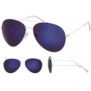 Merkloos Aviator zonnebril wit met blauwe glazen voor volwassenen