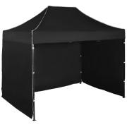 Rýchlorozkladací nožnicový stan 2x3m - oceľový, Čierna, 3 bočné plachty