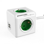 Allocacoc PowerCube extended USB met 1,5m kabel Wit / Groen