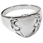 Memorial Gallery 2022s-6 Engravable Shield Ring Sterling Silver Cremation Pet Jewelry, Size 6