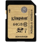 Kingston 64 GB SDHC Class 10 90 MB/s Memory Card