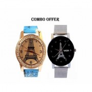 VITREND(R-TM) Royal Look Fancy Style Eiffel tower Printed Dial Analog Combo Watches Pack of 2 for Girls and Women