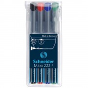 Marker permanent SCHNEIDER Maxx 222 F, 4 culori/set