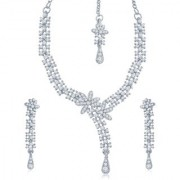 Sukkhi Pretty Rhodium Plated Australian Diamond Stone Studded Necklace Set