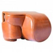 Bolso de cuero de la camara de cuero de caballo loco para sony A6000 / A6300 - marron