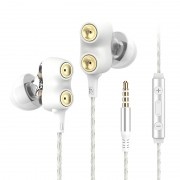 LANGSDOM D2 3.5mm Mega Bass In-Ear Wired Earphone with Microphone for iPhone Samsung LG - White