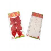 Set 3 fundite decorative pentru brad 10 cm Rosu