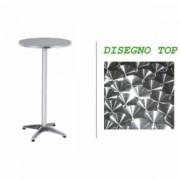 MondoArreda R60-A - Mesa De Aluminio Redonda, Diam.60 X H110cm, Con Soporte Central De 4 Patas, Para Bar, Restaurante, Piscina, Hotel