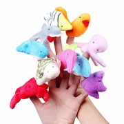 10 Pcs/Set Plush toy Sea Animal Finger Puppets Children Educational Soft Toys Ocean Animal Doll,Dolphin,Turtle,Starfish,Octopus,Whale,Shark Shaped For Baby Learning Animals And Fun