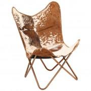 vidaXL Krzesło motyl, brązowo-białe, naturalna kozia skóra