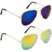 NuVew Aviator Sunglasses(Blue, Golden)