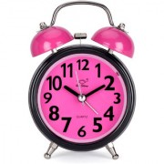 Classic Twin Bell Light Pink Colour Table Alarm Clock With Night Led Light