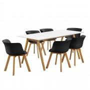 [en.casa]® Dizajnový bambusový jedálenský stôl HTNT4302 so 6 čiernymi stoličkami HTFL-6304