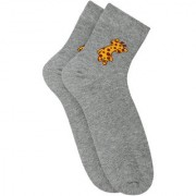 Soxytoes Grey Matter Grey Cotton Ankle Length Pack of 1 Pair Animal Print Unisex Casual Socks (STS0145)