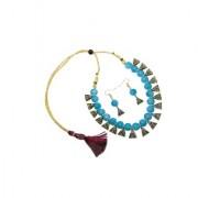 NMJ Oxidized Gold Plated Sky Blue Fashion Party Wear Pearl Choker Necklace Earring Latest Jewellery Set for Women Gir